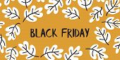 Black Friday Sale Text Vector With Hand Drawn Black And White Leaves On Mustard Yellow Background. B poster