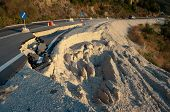pic of landslide  - broken road by an earthquake or landslide  - JPG