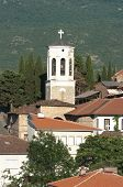 belltower of Church St. Bogorodica Perivlepta in old Ohrid, Republic of Macedonia