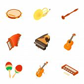 School Orchestra Icons Set. Isometric Set Of 9 School Orchestra Vector Icons For Web Isolated On Whi poster