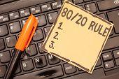 Conceptual Hand Writing Showing 80 20 Rule. Business Photo Showcasing Pareto Principle 80 Percent Ef poster