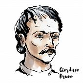 Giordano Bruno Watercolor Vector Portrait With Ink Contours. Italian Dominican Friar, Philosopher, M poster