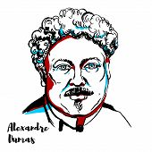 Alexandre Dumas Engraved Vector Portrait With Ink Contours. Famous French Writer, Author Of The Coun poster