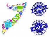Best Shopping Composition Of Mosaic Map Of Somalia And Scratched Seals. Vector Blue Seals With Scrat poster