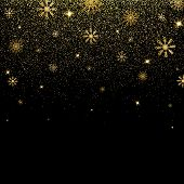 Christmas Background With Glitter And Shining Gold Snowflakes. Golden Glitter Texture With Glowing L poster