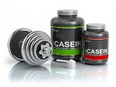 Casein protein with scoop and dumbbell.Bodybuilder nutrition(supplement) concept. 3d illustration. poster