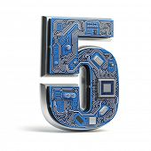 Number 5  five, Alphabet in circuit board style. Digital hi-tech letter isolated on white. 3d illust poster