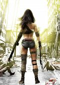Training Day, Zombies Advancing On A Fully Prepared Post Apocalyptic Fearless Female With A Ruined C poster