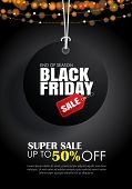 Black Friday Sale Flyer Template. Dark Background With Tag Hanging. Use For Poster, Newsletter, Shop poster