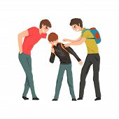 Two Older Boys Mocking Younger, Conflict Between Children, Mockery And Bullying At School Vector Ill poster