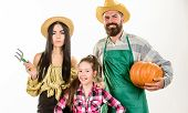 Family Rustic Style Farmers Proud Of Fall Harvest. Parents And Daughter Celebrate Harvest Holiday Pu poster