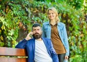 Romantic Concept. Couple In Love Romantic Date Walk Nature Park Background. Man Bearded Hipster Wait poster