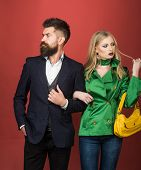 Enjoying Friendly Relations. Love Relations. Autumn Fashion Trends. Couple In Love In Fashionable St poster