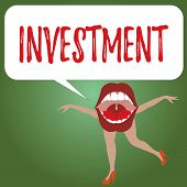 Handwriting Text Investment. Concept Meaning Action Or Process Of Investing Money For Obtaining Prof poster