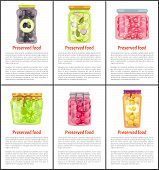 Preserved Food Vector Glass Labeled And Unlabeled Jars. Homemade Canned Vegetables, Fruit And Berrie poster