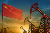 China Oil Industry Concept, Industrial Illustration. Fluttering China Flag And Oil Wells On The Blue poster