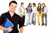 stock photo of students classroom  - Casual mand with a group of college students smiling  - JPG