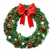Christmas Wreath, Red Ribbon Bow, Isolated On White Background, Clipping Path poster