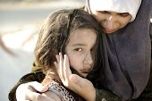 foto of muslim kids  - Poverty and poorness on the children face - JPG