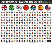 All National Flags Of The World . Circle Concave Button Design . Elements Vector . poster