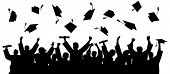 Graduated At University, College. Crowd Of Graduates In Mantles, Throws Up The Square Academic Caps. poster