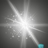 Glow Light Effect. Star Burst With Sparkles. Golden Glowing Lights poster