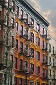 stock photo of tenement  - New York City Tenement building - JPG