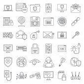 Internet Security Icon Set. Outline Set Of Internet Security Icons For Web Design Isolated On White  poster