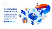 Customer Attraction Concept Background. Isometric Illustration Of Customer Attraction Concept Backgr poster