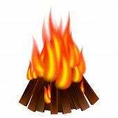 Bonfire Icon. Realistic Illustration Of Bonfire Icon For Web Design poster