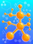 Chemical Molecule Structure Concept Background. Cartoon Illustration Of Chemical Molecule Structure  poster