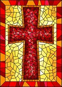 The Illustration In Stained Glass Style Painting On Religious Themes, Stained Glass Window In The Sh poster
