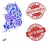 Business Contacts Combination Of Blue Mosaic Map Of South Korea And Scratched Seals. Vector Red Seal poster