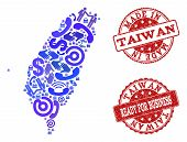 Business Contacts Collage Of Blue Mosaic Map Of Taiwan And Scratched Seal Stamps. Vector Red Waterma poster