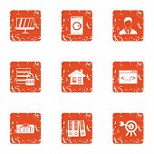 Personal Information Icons Set. Grunge Set Of 9 Personal Information Icons For Web Isolated On White poster