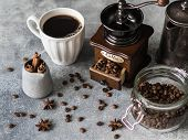 Various Ingredients For Making Coffee, Glass Jar With Coffee Beans, Sugar, Vintage Coffeepot, Coffee poster