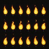 Fire Animation. Flaming Flame, Fiery Blaze And Animated Blazing Fire Flames Isolated Vector Animatio poster