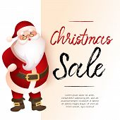 Christmas Sale Light Beige Banner Design With Santa Claus And Sample Text. Calligraphy With Santa Cl poster