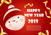 Happy New Year Red Banner Design With Snowman Face And Sample Text. Calligraphy With Cartoon Snowman poster