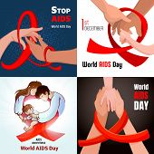 World Aids Day Banner Set. Cartoon Illustration Of World Aids Day Vector Banner Set For Web Design poster