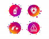 Bug Disinfection Icons. Caution Attention And Shield Symbols. Insect Fumigation Spray Sign. Gradient poster
