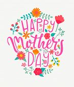 Happy Mothers Day Card With Handdrawn Lettering. Raster Copy. poster