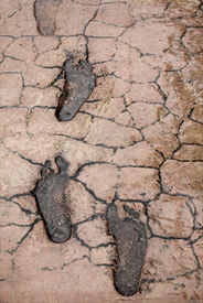 stock photo of dirt road  - Human foot prints on cracked land - JPG