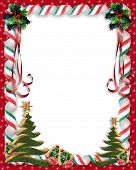 stock photo of christmas cards  - Image and Illustration composition for Christmas holiday background invitation card with copy space or room for photo - JPG