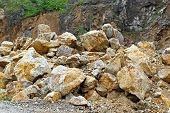 stock photo of mudslide  - Pile of rocks and stones after mudslide catastrophe - JPG