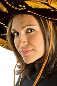 Hispanic Woman Wearing A Sombrero