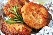 picture of pork cutlet  - Closeup of fresh breaded cutlet - JPG