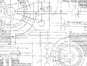 image of mechanical drawing  - Grungy technical drawing illustration of gears and engineering parts - JPG
