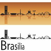 stock photo of brasilia  - Brasilia skyline in orange background in editable vector file - JPG