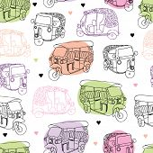 stock photo of rickshaw  - Seamless india travel auto rickshaw illustration background pattern in vector - JPG